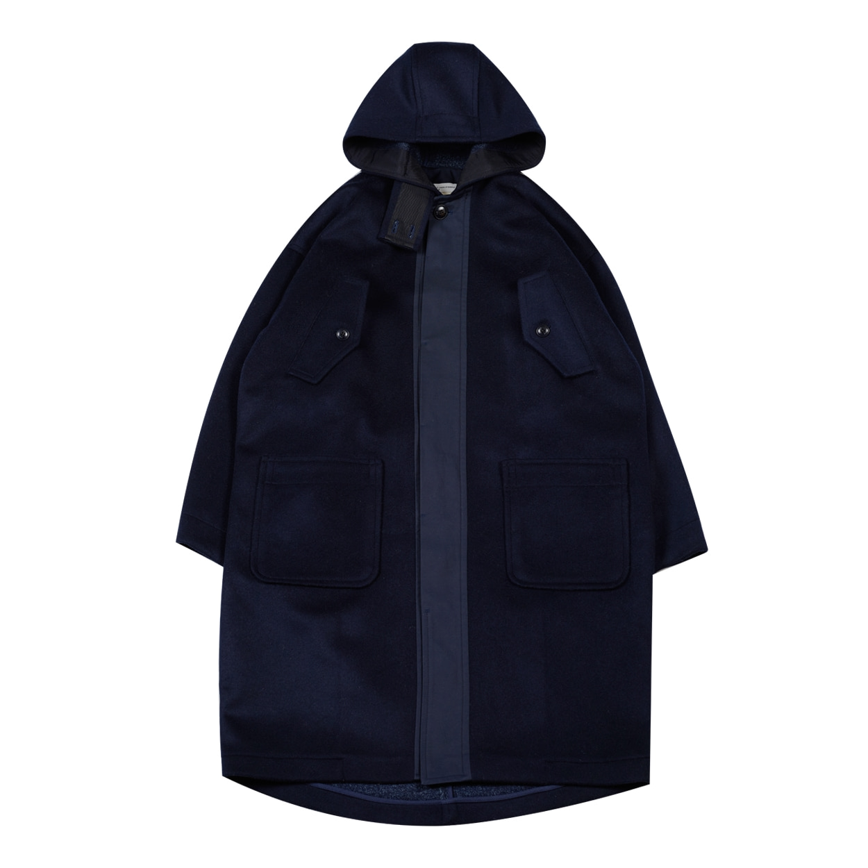 HOODED WOOL COAT - NAVY