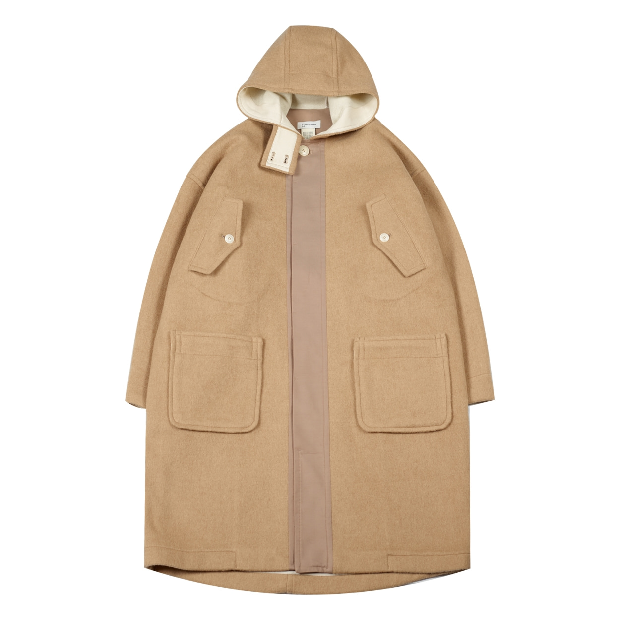 HOODED WOOL COAT - BEIGE